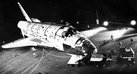 Mar. 8, 1979: The Space Shuttle Columbia is rolled out of hanger at the Rockwell plant in Palmdale to begin its 38 mile trip to Edwards Air Force Base.