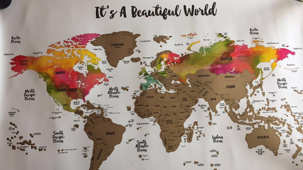 March favorites 2017 from brown eyes i have been loving this world map from etsy the map starts off with a boring brown but once you visit a country you scratch off the brown to reveal a gumiabroncs Images